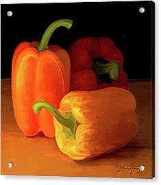 Three Peppers 01 Acrylic Print by Wally Hampton