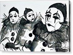 Three Pierrots - Venice Carnival Acrylic Print by Mona Edulesco