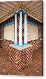 Acrylic Print featuring the photograph Three Pillars At The Refreshment Stand by Gary Slawsky
