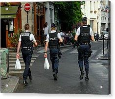 Three Policemen In Paris By Taikan Acrylic Print