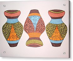 Acrylic Print featuring the drawing Three Pots by Beth Akerman