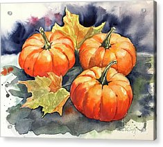 Three Pumpkins Acrylic Print