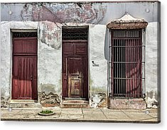 Three Red Doorways Acrylic Print by Dawn Currie