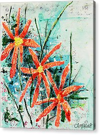 Acrylic Print featuring the painting Three Red Flowers by Teddy Campagna