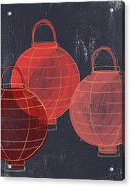Three Red Lanterns- Art By Linda Woods Acrylic Print by Linda Woods