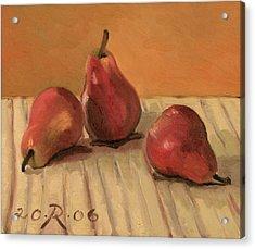 Three Red Pears Acrylic Print by Raimonda Jatkeviciute-Kasparaviciene