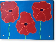 Three Red Poppies Horizontal Acrylic Print