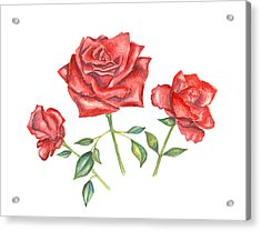 Acrylic Print featuring the mixed media Three Red Roses by Elizabeth Lock