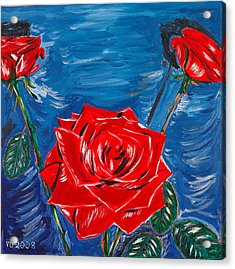 Three Red Roses Four Leaves Acrylic Print by Valerie Ornstein