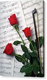 Three Red Roses  Acrylic Print by Garry Gay