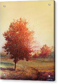 Three Red Trees Acrylic Print