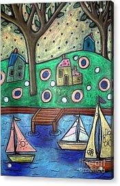 Three Sailboats Acrylic Print by Karla Gerard