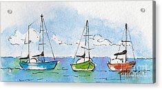 Three Sailboats Near Tahiti Acrylic Print by Pat Katz
