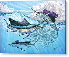 Three Sailfish And Bait Ball Acrylic Print by Terry  Fox