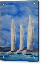 Three Sails Acrylic Print by Patricia Caldwell