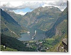 Three Ships At Geiranger Fjord Acrylic Print by Deni Dismachek