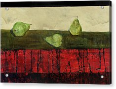 Three Sides Of Pears Acrylic Print by Ellen Beauregard
