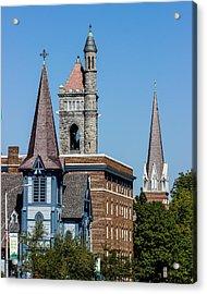 Three Steeples Of St Johnsbury Vermont Acrylic Print by Tim Kirchoff