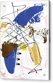 Acrylic Print featuring the painting Three Color Palette Blue 3 by Michal Mitak Mahgerefteh