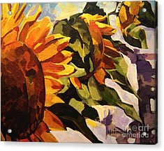 Acrylic Print featuring the painting Three Sunflowers by Tim  Heimdal
