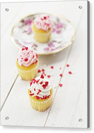 Acrylic Print featuring the photograph Three Tiny Cupcakes by Rebecca Cozart