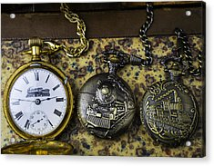 Three Train Pocket Watches Acrylic Print by Garry Gay