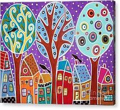Three Trees Three Birds And Six Houses Acrylic Print by Karla Gerard