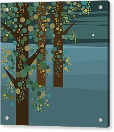 Three Trees With Gold Acrylic Print