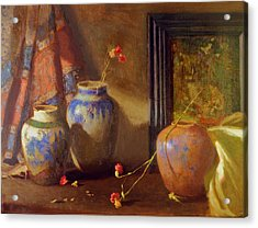 Three Vases With Impressionist Painting In Background Acrylic Print by David Olander