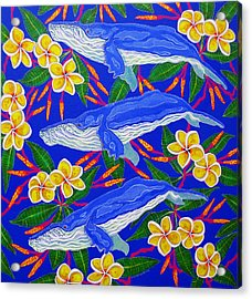 Acrylic Print featuring the painting Three Whales  by Debbie Chamberlin