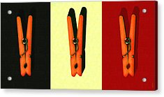 Three Whimsical Clothespins . Painterly Acrylic Print by Wingsdomain Art and Photography