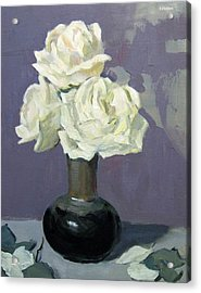 Three White Roses With Abstract Background Acrylic Print