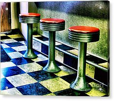 Three White Steamer Stools Acrylic Print by Julie Dant