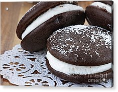Three Whoopie Pies Or Moon Pies Acrylic Print by Stephanie Frey