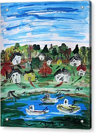 Acrylic Print featuring the painting Three Work Boats Return by Mary Carol Williams