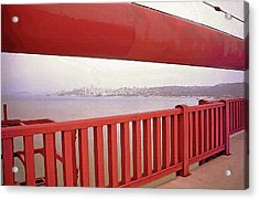 Through The Bridge View Of San Francisco Acrylic Print by Steve Ohlsen