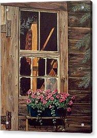 Through The Cabin Window Acrylic Print by Lynda  Lawrence