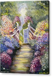 Acrylic Print featuring the painting Through The Garden Gate by Quwatha Valentine