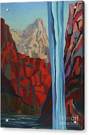 Acrylic Print featuring the painting Through The Narrows, Zion by Erin Fickert-Rowland