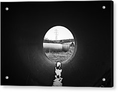 Through The Pipe Acrylic Print by Keith Elliott
