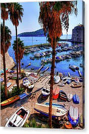 Through The Trees Dubrovnik Harbour Acrylic Print