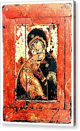 Ththe Virgin Eleusa Of Vladimir - 17 Century Acrylic Print by Evgeni  Andreev