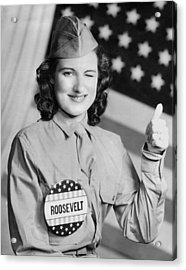 Thumbs Up For Roosevelt Acrylic Print by Underwood Archives