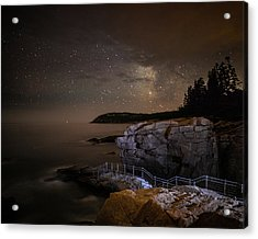 Thunder Hole Under The Stars Acrylic Print by Brent L Ander