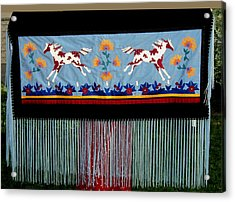 Acrylic Print featuring the tapestry - textile Thunder Pony by Chholing Taha