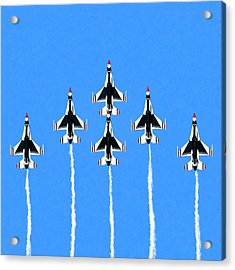 Acrylic Print featuring the mixed media Thunderbirds Flying In Formation by Mark Tisdale