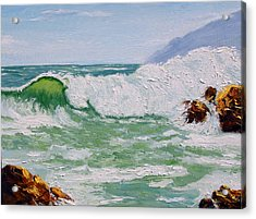 Thundering Surf Acrylic Print by Lorraine Foster