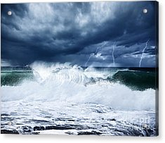 Thunderstorm And Lightning On The Beach Acrylic Print