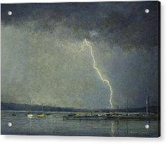 Acrylic Print featuring the painting Thunderstorm Over Cazenovia Lake by Wayne Daniels