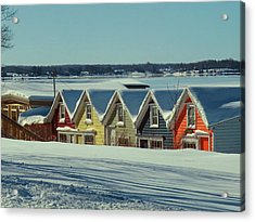 Winter View Ti Park Boathouses Acrylic Print